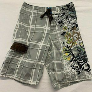Other - Brody Men's Board Shorts Size 30 Gray White Plaid